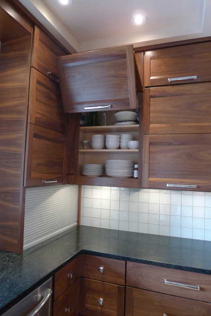 Tv In Front Of Window Interior Design Walnut Horizontal Grain Kitchen - Contemporary - Kitchen