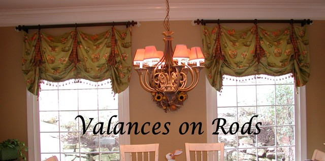 Valances on Rods - Traditional - Living Room - Other - by The - valances for living room