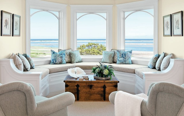 Chatham Residence - Beach Style - Living Room - Boston - by Kotzen - beach style living room