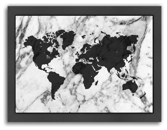 Marble World Map Print - Contemporary - Prints And Posters - by