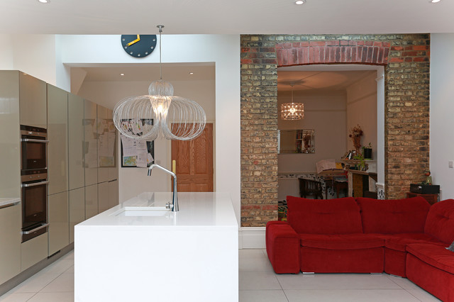 White kitchen island modern kitchen london by lwk
