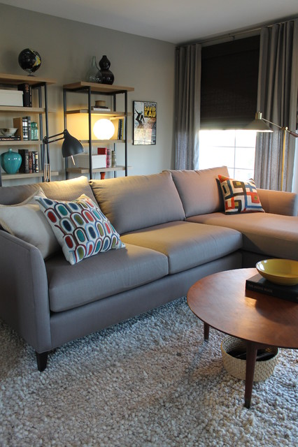 Mid Century Modern Style with Crate and Barrel Sectional - crate and barrel living room