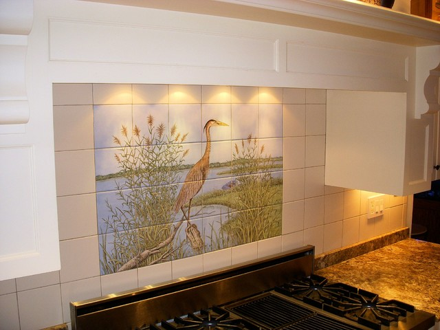 great blue heron kitchen backsplash tile mural traditional kitchen donna kitchen backsplash design hand painted tiles