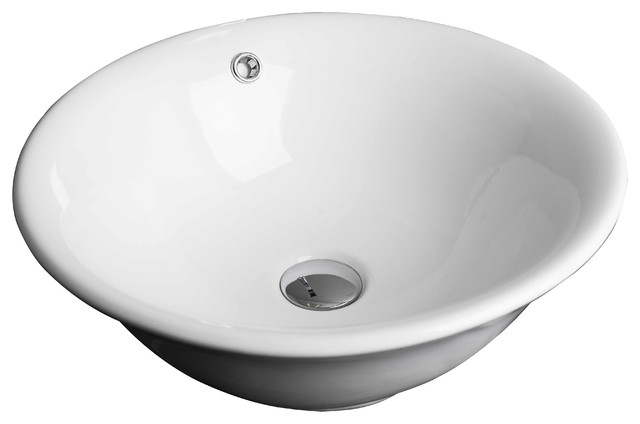 17quotw X 17quotd Above Counter Round Vessel White Color