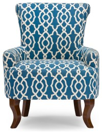 Contemporary Fabric Armchair, Navy Blue Patterned Fabric ...
