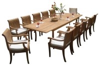 """13 Piece Dining Set, 117"""" Double Rectangle Table and 12 ..."""