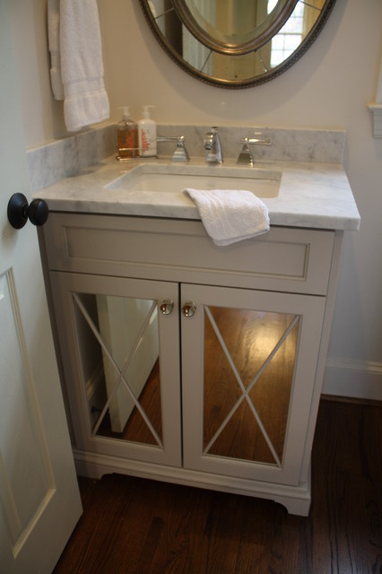 Kitchen Wall Cabinets With Glass Doors Sweet Little Powder - Traditional - Powder Room