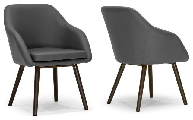 Adaya Gray Pu Leather Armchairs With Beech Legs Set Of 2