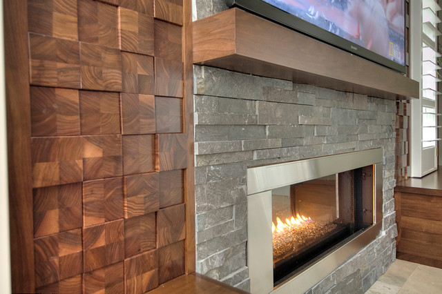 Wood cobble stone wall - Contemporary - Living Room - Tampa - by - wood wall living room