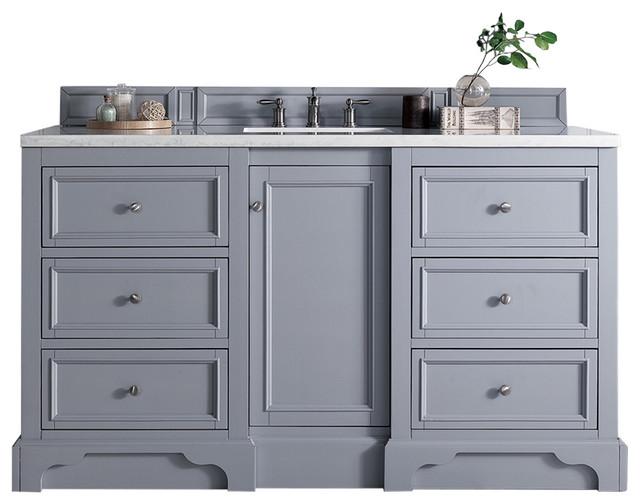 De Soto 60quot Single Vanity Silver Gray Transitional