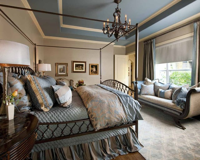 Blue and beige master bedroom traditional bedroom