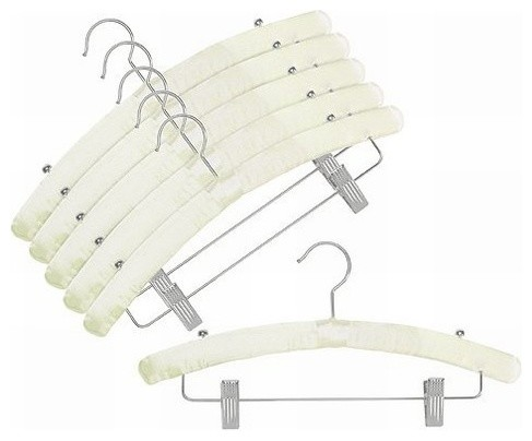 Satin Padded Hangers With Clips Ivory Set Of 6