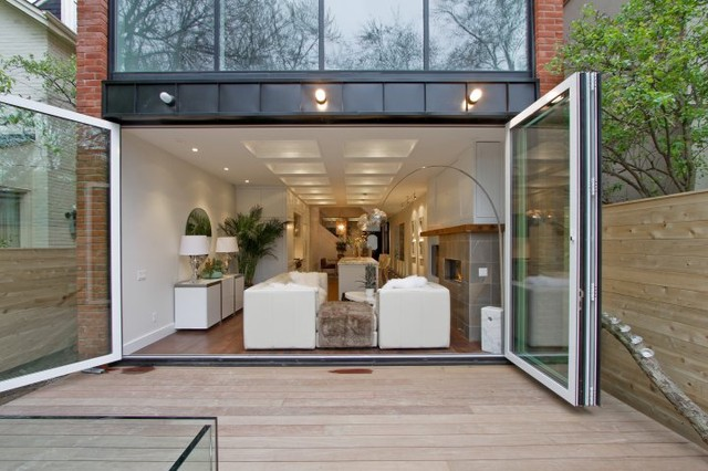 Interior Exterior Folding Glass Walls Modern Patio