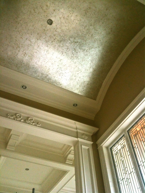 Houzz Home Office Vaulted Ceiling With Silver Leaf Crackle Finish Over Gold