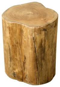 Tree Stump Stool, Natural - Rustic - Accent And Garden ...