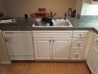 Flooring for Dark Countertops, White Cabinets, Beige Walls