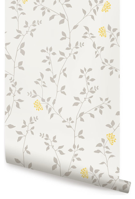 Kitchen Cabinet Stick On Wallpaper Branch Flower Wallpaper, Peel And Stick - Transitional