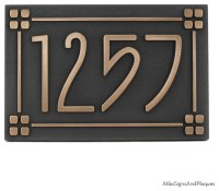 """American Craftsman Address Plaque with Lines 12"""" x 8"""" in ..."""