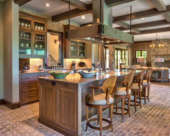 large rustic kitchen design ideas remodels photos quartzite inspiration small transitional single wall eat kitchen