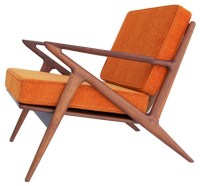 Z Accent Chair, Electric Orange - Midcentury - Armchairs ...
