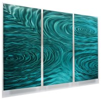 Teal Green 3-Panel Metal Wall Art, Contemporary Home ...