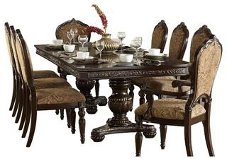 9 Piece Ragosta European Dining Set Pedestal Table 2 Arm