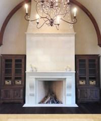Elegant Tall Limestone Fireplace - Traditional - Living ...