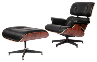 Classic Lounge Chair Aniline Leather Midcentury