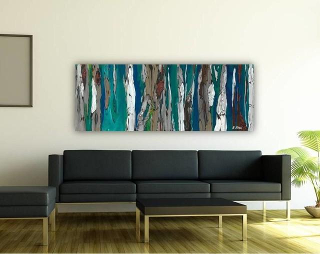 Contemporary Modern Artwork in Living Room Dining Room Entry Blue - artwork for living room