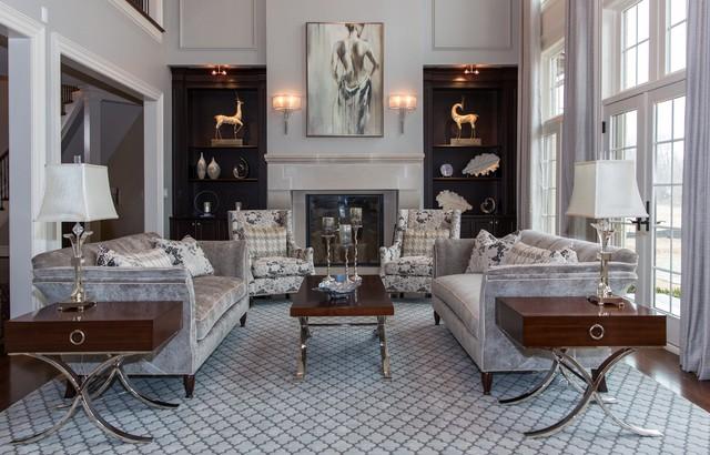 Champagne \ Grey Elegant Living Room - Transitional - Living Room - elegant living rooms