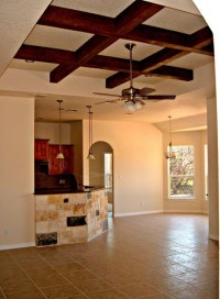 Faux Wood Beams in Tray Ceiling - Rustic - Family Room ...
