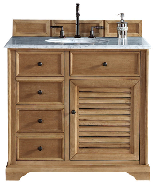 "Beach Style Bathroom Vanity James Martin Savannah 36"" Natural Oak Single Vanity With"