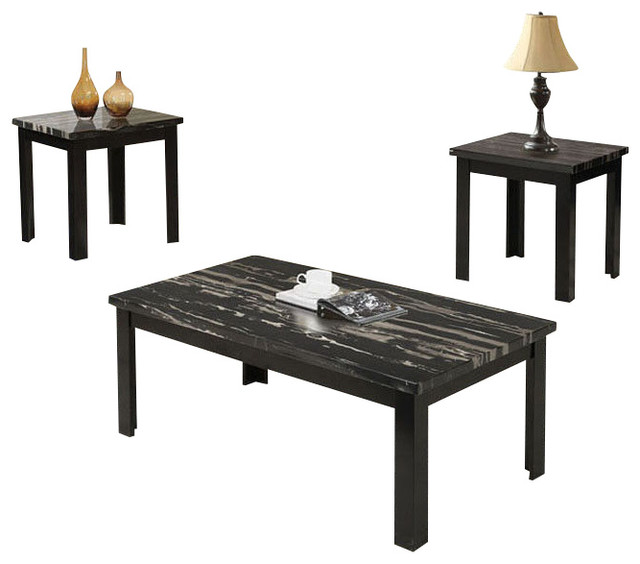 3-Piece Wooden Block Legs Black Faux Marble Top Coffee End - 3 piece living room table set