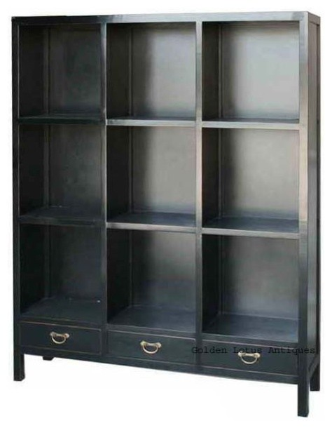 Black Chinese Multiple Shelves Display Bookcase Cabinet