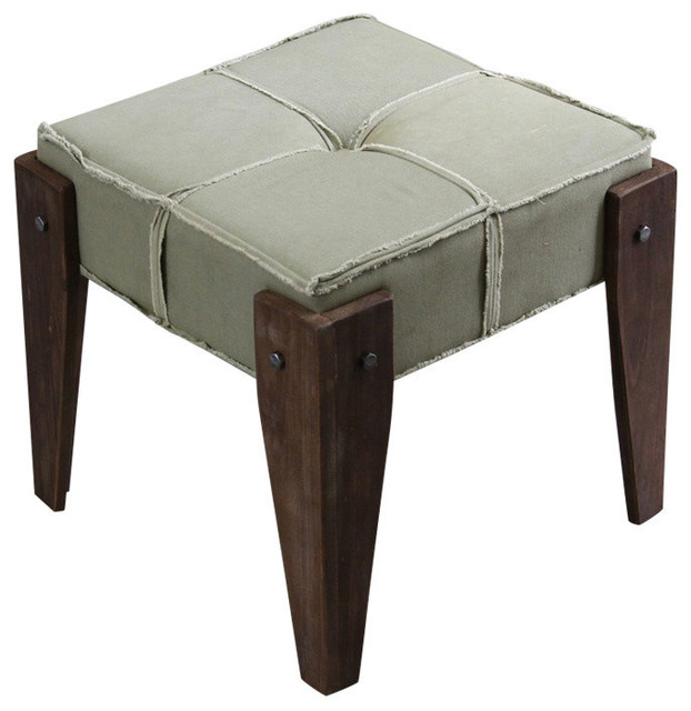 Black Friday Convertible Sofas Rustic Elegance Tuffed Fabric Stool,sage Fringe Fabric
