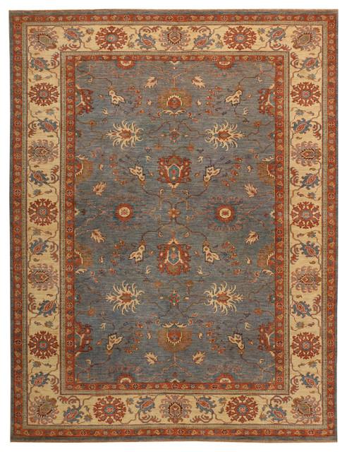 Handmade Afghan Ferahan Rug Slate 7397quotx93911