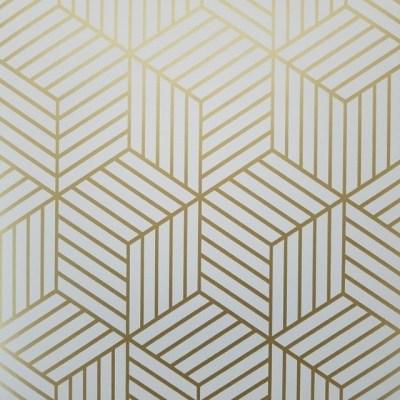Geometric Gold Hexagon Peel and Stick Mid Century Modern Wallpaper - Contemporary - Wallpaper ...