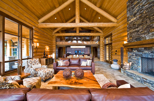 Ranch log home - Rustic - Living Room - Vancouver - by Sitka Log Homes - log cabin living rooms
