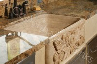Kitchen Stone Farm Sink Beige Travertine Single Bowl ...
