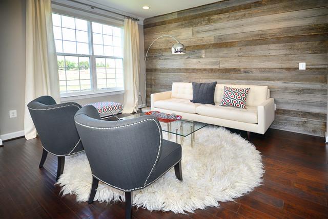 Modern Living Room \/ Reclaimed Wood Wall - Modern - Living Room - wood wall living room
