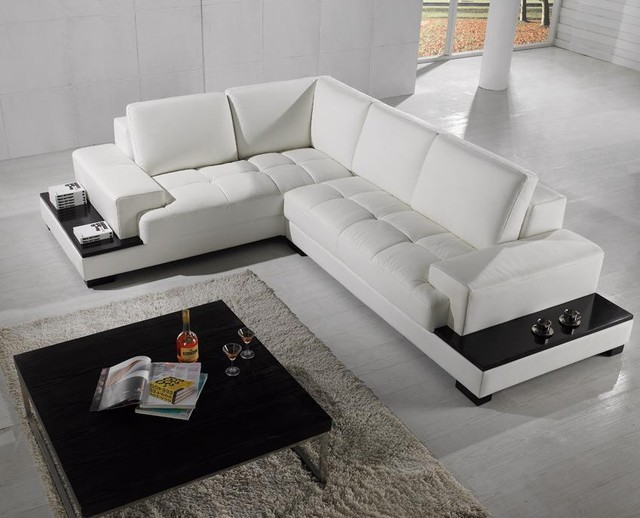 Modern Sectional Sofa in White Bonded Leather - Modern - Living - white sectional living room