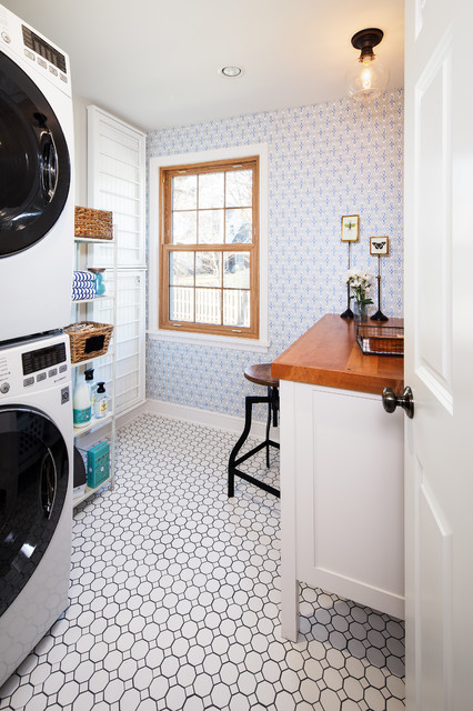 Tile A Kitchen Floor Under Cabinets Updated Vintage - Traditional - Laundry Room - Omaha - By