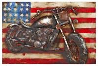 American Motorcycle 3D Rectangular Metal Wall Art - Metal ...