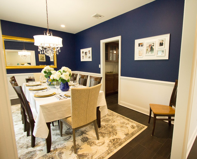 Tile To Hardwood Transition A Touch Of Blue - Formal Dining Room - Transitional