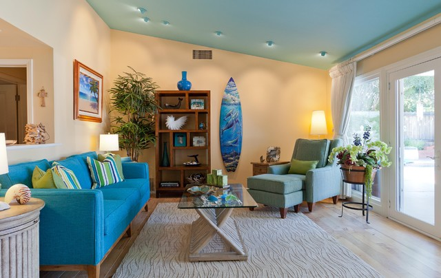 Coastal Retreat in Woodland Hills - Tropical - Living Room - Los - tropical living room furniture