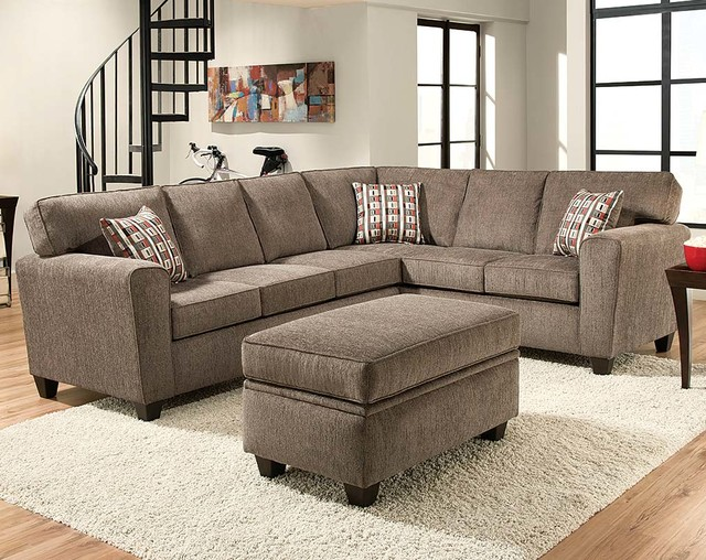 Mickey Pewter Two Piece Sectional Sofa - Contemporary - Living - two piece living room set