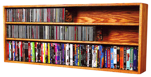 Cd Regal Wand Cd Racks Solid Oak Wall Or Shelf Mount For Cd And Dvd/vhs