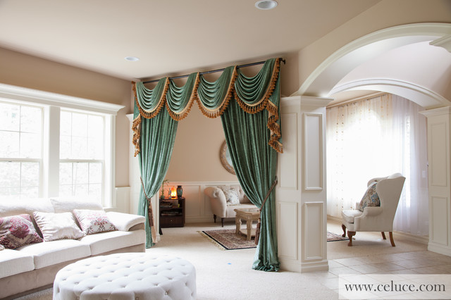 Green Chenille Swag Valance Curtains - Modern - Living Room - swag curtains for living room