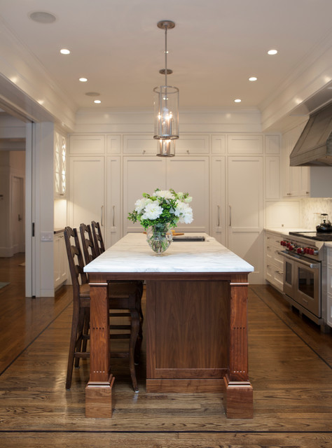 Recessed Lighting For Kitchen Island Black Walnut Kitchen Island With White Marble Countertops