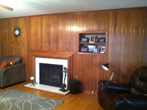 Need help on the wood wall living room \ foyer  - wood wall living room